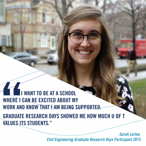 """""""I want to be at a school where I can be excited about my work and know that I am being supported. Graduate research days showed me how much U of T values its students."""" said Sarah Larlee, past participant of Graduate Research Days."""