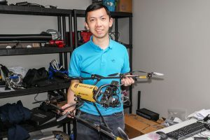 For his Professional Experience Year (PEY) internship, Jeremy Wang (Year 3 EngSci) is developing new drone technologies for The Sky Guys. (Photo: Kirk Eksyma)