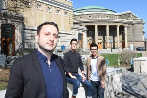Pedram Mortazavi with two of the students who nominated him for the TA Teaching Excellence Award, Andrew Lau (CivE Year 3) and Chris Rotella (CivE Year 3).  (Photo: Keenan Dixon)