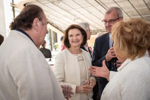 Dean Cristina Amon, second from left, speaks with alumni and guest at the Celebration of Leadership event on Wednesday, June 26, 2019. (credit: Lisa Sakulensky)