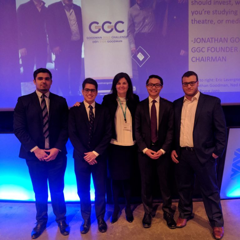 Winning Lassonde Mineral Engineering Team (Zawwar Ahmed (MinE Year 3), Dalton Veintimilla (MinE Year 4), Ice Peerawattuk (MinE Year 4) and Jihad Raya (MinE PEY)) with Candace MacGibbon, CEO of INV Metals (at centre).