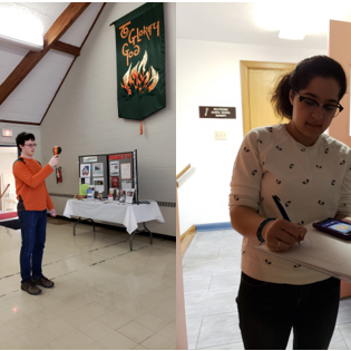 During the energy audit at AHPC, Noah Cassidy (left) recorded window temperature with a thermal imaging camera while Niloufar Ghaffari (right) recorded lux readings for lighting retrofits.
