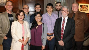 Generations of Engineering Society presidents reconnected at the Engineering Society Heritage and Awards Celebration. L-R: Bill Hollings (EngSci 8T5), Márta Ecsedi (CivE 7T6), Kevin Sui (EngSci 1T1), Teresa Nguyen (CivE 1T5), Ernesto Díaz Lozano Patiño (Year 4 CivE + PEY), David Cheung (CivE 1T1 + PEY), Milan Maljković (Year 4 CompE + PEY), Scott Jolliffe (ChemE 7T3) and Howard Malone (CivE 6T1). (Photo: Keenan Dixon)