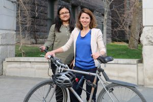 Civil engineering post-doctoral researcher Sabreena Anowar and Professor Marianne Hatzopoulou (CivE) are studying the risks of air pollution on cyclists and their impact on route choice. (Photo: Tyler Irving)