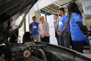 Premier Kathleen Wynne with members of U of T Engineering's Blue Sky Solar Racing team. (Photo: Roberta Baker)