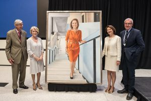 From left: Dean Emeritus Michael Charles, U of T Chancellor Rose Patten, Dean Cristina Amon and Professor Ron Venter unveil a portrait of Amon by artist Joanne Tod. The portrait will be displayed in the foyer of the Myhal Centre. (credit: Lisa Sakulensky)