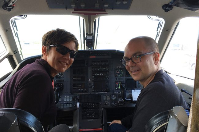 Professors Tracey Galloway and Chris Beck in one of the planes used to transport food, supplies and passengers to remote Indigenous communities in Northern Ontario. (Photo courtesy of Chris Beck)