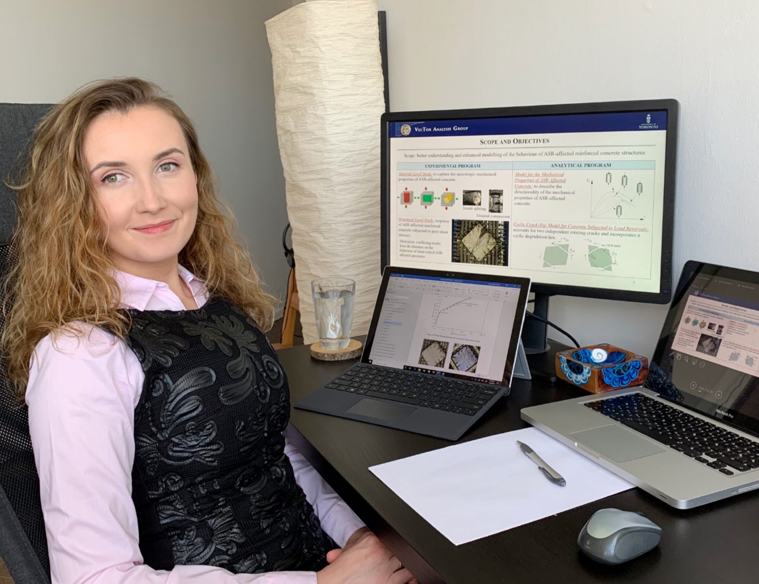 Anca Ferche (CivE PhD 2T0) at her home office