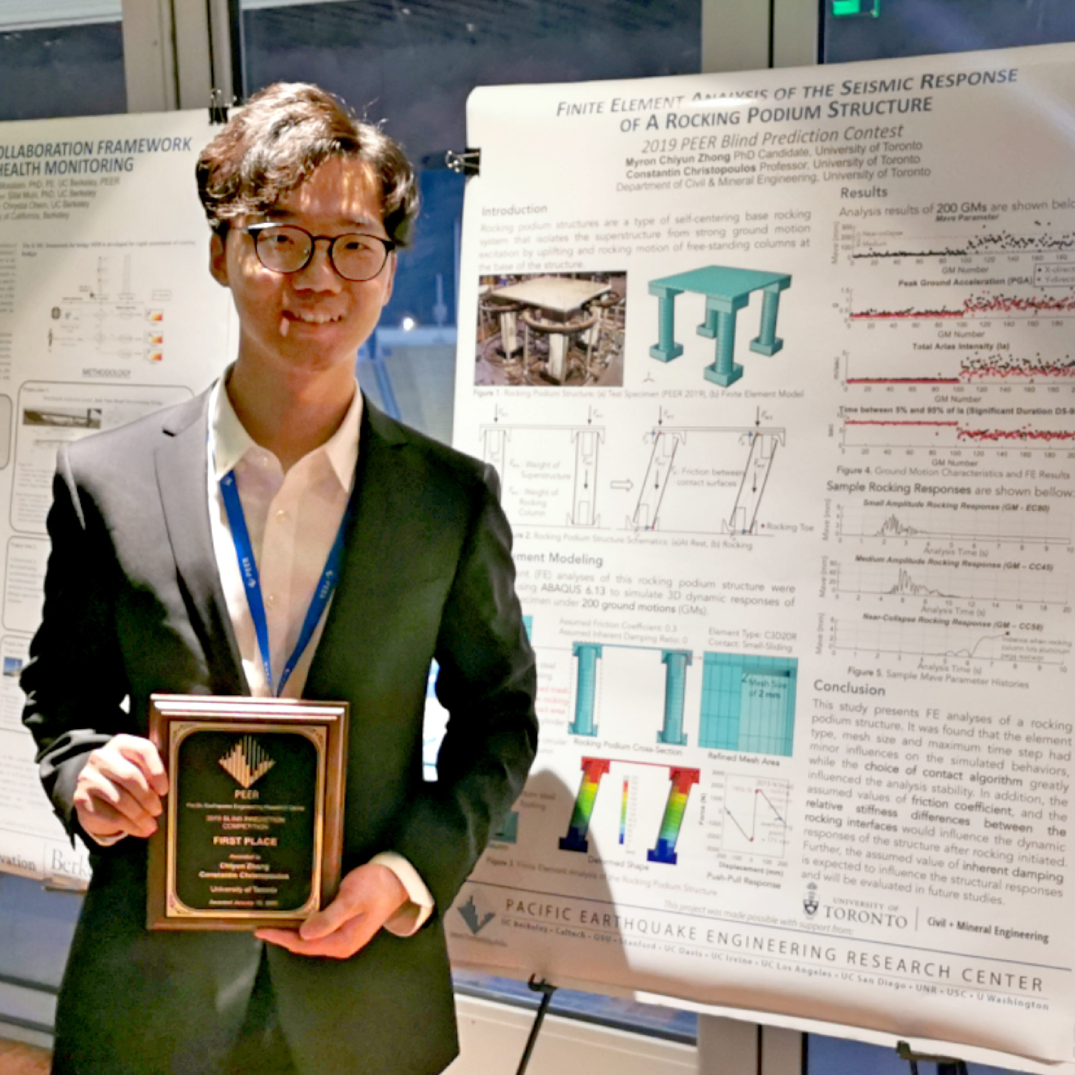Myron Chiyun Zhong, a CivE PhD candidate, holds the award for the Pacific Earthquake Engineering Research (PEER) Center's Blind Prediction Contest after a ceremony at the University of California, Berkeley the evening of Thursday, January 16 2020. Zhang, along with supervisor Prof. Constantin Christopoulos, submitted the most accurate prediction for an earthquake model based on shake table results. PHOTO: Courtesy Myron Chiyun Zhong